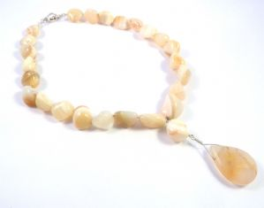Sterling Silver And Agate Bead Necklace By Mounir.